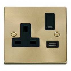 Click Deco Victorian Satin Brass 1 Gang 13A Single Pole Switched Socket with Black Insert and USB Outlet