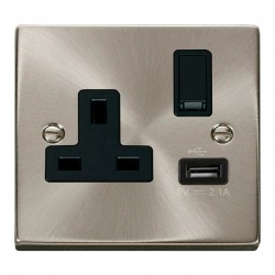 Click Deco Victorian Satin Chrome 1 Gang 13A Single Pole Switched Socket with Black Insert and USB Outlet