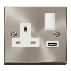 Click Deco Victorian Satin Chrome 1 Gang 13A Single Pole Switched Socket with White Insert and USB Outlet