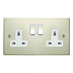 Hamilton Hartland Pearl Oyster 2 Gang 13A Switched Socket - Double Pole with White Insert