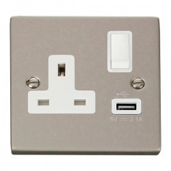 Click Deco Victorian Pearl Nickel 1 Gang 13A Single Pole Switched Socket with White Insert and USB Outlet