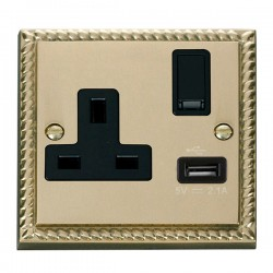 Click Deco Georgian Cast Brass 1 Gang 13A Single Pole Switched Socket with Black Insert and USB Outlet