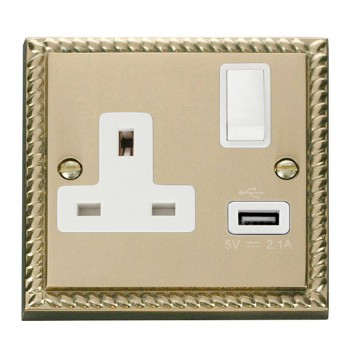 Click Deco Georgian Cast Brass 1 Gang 13A Single Pole Switched Socket with White Insert and USB Outlet