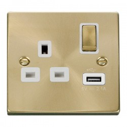 Click Deco Victorian Satin Brass 1 Gang 13A Single Pole Ingot Switched Socket with White Insert and USB Outlet