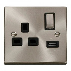 Click Deco Victorian Satin Chrome 1 Gang 13A Single Pole Ingot Switched Socket with Black Insert and USB Outlet