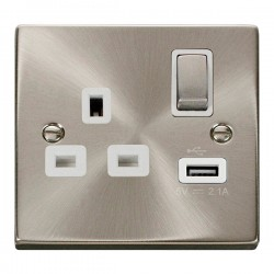 Click Deco Victorian Satin Chrome 1 Gang 13A Single Pole Ingot Switched Socket with White Insert and USB Outlet