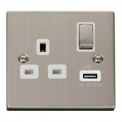 Click Deco Victorian Stainless Steel 1 Gang 13A Single Pole Ingot Switched Socket with White Insert and USB Outlet