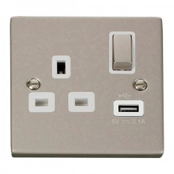 Click Deco Victorian Pearl Nickel 1 Gang 13A Single Pole Ingot Switched Socket with White Insert and USB Outlet