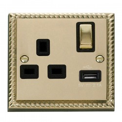 Click Deco Georgian Cast Brass 1 Gang 13A Single Pole Ingot Switched Socket with Black Insert and USB Outlet