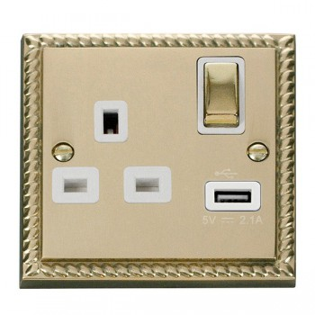 Click Deco Georgian Cast Brass 1 Gang 13A Single Pole Ingot Switched Socket with White Insert and USB Outlet