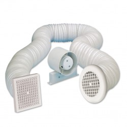 Manrose 100mm In-Line Shower Extractor Fan Kit with Timer