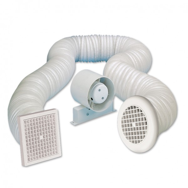 Manrose 100mm in line shower extractor fan kit with timer for Bathroom extractor fan kit