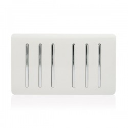 Trendi White 6 Gang 2 Way Rocker Light Switch