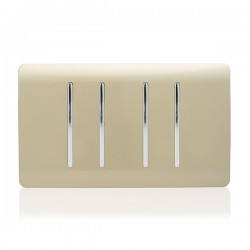 Trendi Gold 4 Gang 2 Way Double Plate Rocker Light Switch