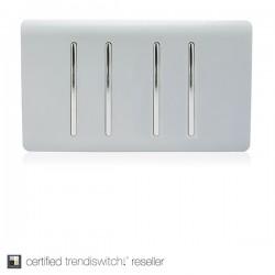 Trendi Silver 4 Gang 2 Way Double Plate Rocker Light Switch