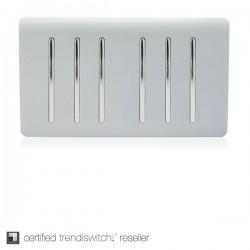 Trendi Silver 6 Gang 2 Way Rocker Light Switch