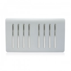 Trendi Silver 8 Gang 2 Way Rocker Light Switch
