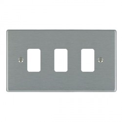 Hamilton Hartland Grid Satin Steel 3 Gang Grid Fix Aperture Plate with Grid