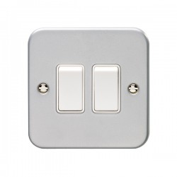 Eurolite Metal Clad 2 Gang 10A 2 Way Switch