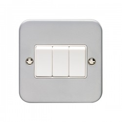 Eurolite Metal Clad 3 Gang 10A 2 Way Switch