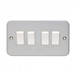 Eurolite Metal Clad 4 Gang 10A 2 Way Switch
