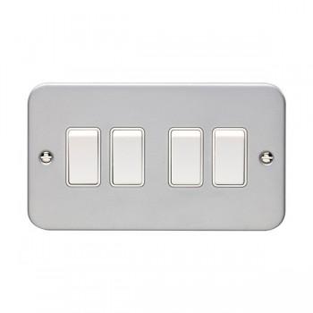 Eurolite Metal Clad 4 Gang 10A 2 Way Switch