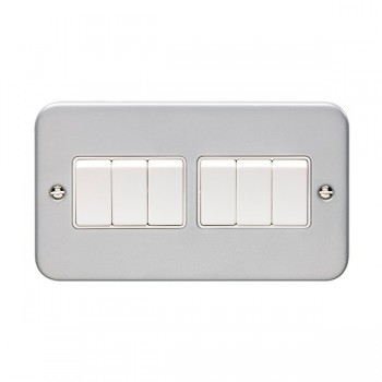 Eurolite Metal Clad 6 Gang 10A 2 Way Switch