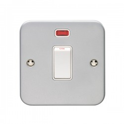 Eurolite Metal Clad 1 Gang 20A Double Pole Switch with Neon