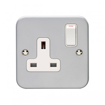 Eurolite Metal Clad 1 Gang 13A Double Pole Switched Socket
