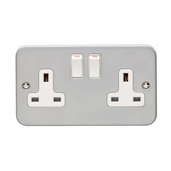 Eurolite Metal Clad 2 Gang 13A Double Pole Switched Socket