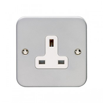 Eurolite Metal Clad 1 Gang 13A Unswitched Socket