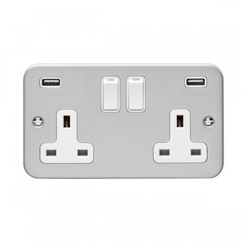 Eurolite Metal Clad 2 Gang 13A Switched Socket with Combined 3.1A USB Outlets