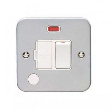 Eurolite Metal Clad 13A Switched Fuse Connection Unit with Flex Outlet and Neon