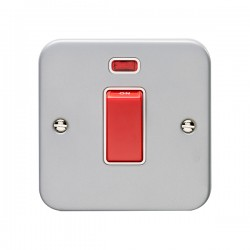 Eurolite Metal Clad 1 Gang 45A Double Pole Switch with Neon