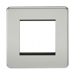 Knightsbridge Screwless Polished Chrome 2 Gang Modular Faceplate