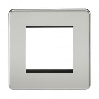 Knightsbridge Screwless Polished Chrome 2 Gang Modular Faceplate