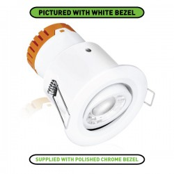 Aurora Lighting E8 8W Warm White Dimmable Adjustable LED Downlight with Polished Chrome Bezel