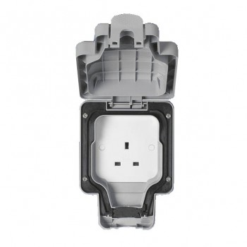 MK Electric Masterseal Plus™ Grey 13A 1 Gang Unswitched IP66 Socket