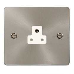 Click Define Brushed Steel Flat Plate 2A Socket with White Insert