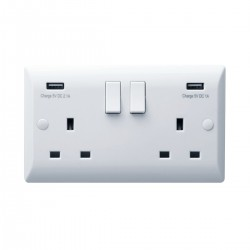 Hamilton Vogue 13A 2 Gang Double Pole Switched Socket with 2 USB Power Outlets