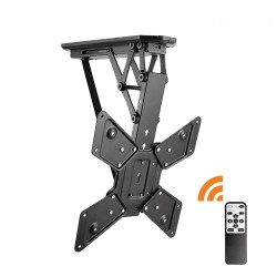 Lithe Audio Remote Control Motorised Flip Down TV Ceiling Mount for 23-55in TVs