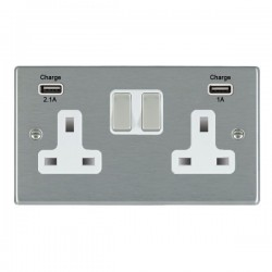 Hamilton Hartland Satin Steel 2 Gang 13A Double Pole Switched Socket with USB Outlet and White Insert