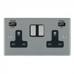Hamilton Hartland Satin Steel 2 Gang 13A Double Pole Switched Socket with USB Outlet and Black Insert