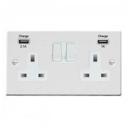 Hamilton Hartland Gloss White 2 Gang 13A Double Pole Switched Socket with USB Outlet and White Insert