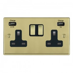 Hamilton Hartland Polished Brass 2 Gang 13A Double Pole Switched Socket with USB Outlet and Black Insert