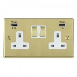 Hamilton Hartland Polished Brass 2 Gang 13A Double Pole Switched Socket with USB Outlet and White Insert
