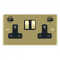 Hamilton Hartland Satin Brass 2 Gang 13A Double Pole Switched Socket with USB Outlet and Black Insert