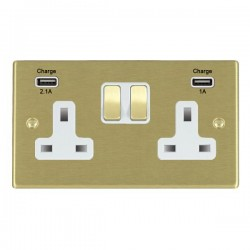 Hamilton Hartland Satin Brass 2 Gang 13A Double Pole Switched Socket with USB Outlet and White Insert
