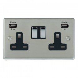 Hamilton Hartland Bright Steel 2 Gang 13A Double Pole Switched Socket with USB Outlet and Black Insert