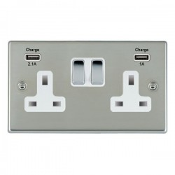 Hamilton Hartland Bright Steel 2 Gang 13A Double Pole Switched Socket with USB Outlet and White Insert